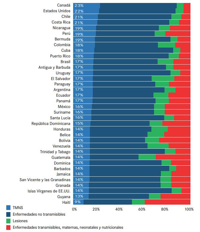 Distribución por países (%) de los años de vida ajustados en función de la discapacidad (AVAD)