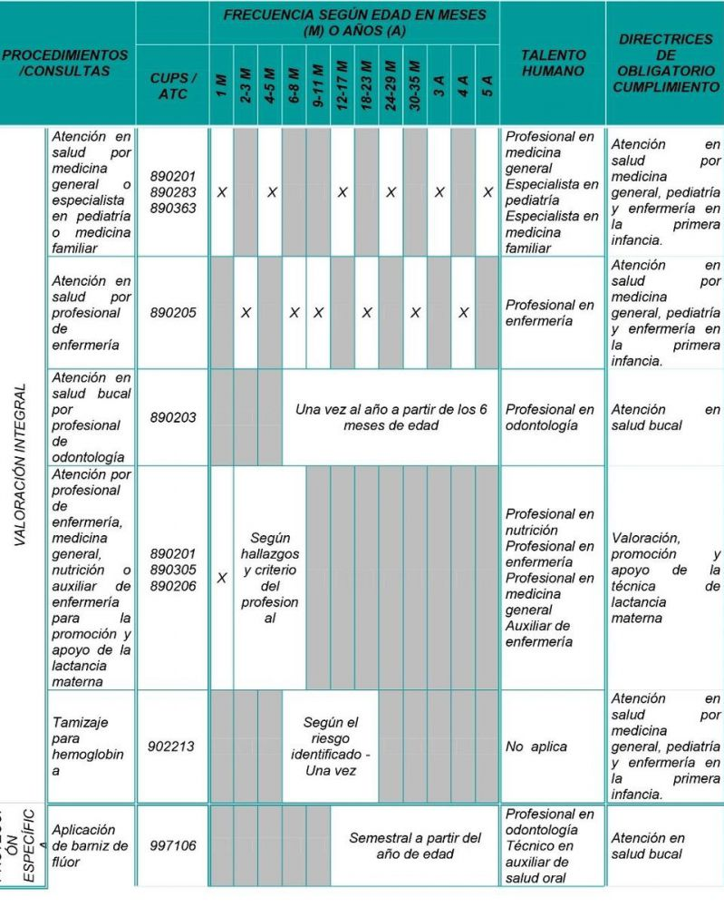 esquema de atención en salud en niño y niñas